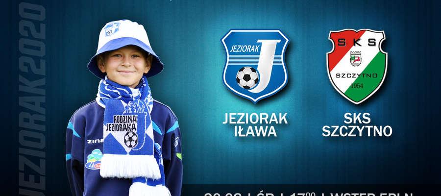 Plakat zapraszający na mecz Jezioraka z SKS-em Szczytno