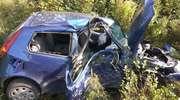 Wypadek na trasie Reszel-Leginy. Kierowca uderzył w drzewo