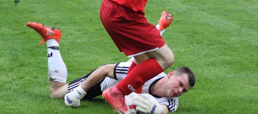 Bramkarz Victorii Błażej Jodko kilka razy ratował swój zespół podczas meczu z SKS Szczytno