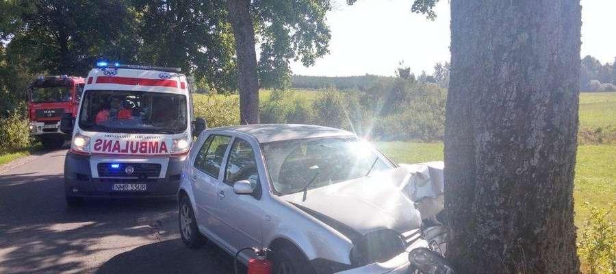 W Polskiej Wsi samochód osobowy uderzył w przydrożne drzewo