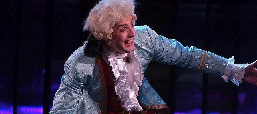 Piotr Boratyński w roli Wolfganga Amadeusza Mozarta