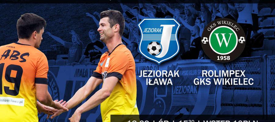 Plakat zapraszający na mecz Jeziorak — GKS Wikielec