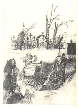 Rycina elbląskiego historyka sztuki i grafika Jerzego Domino, przedstawiającą Słomę zmarłych na furmance przed starym cmentarzem w Kwietniewie