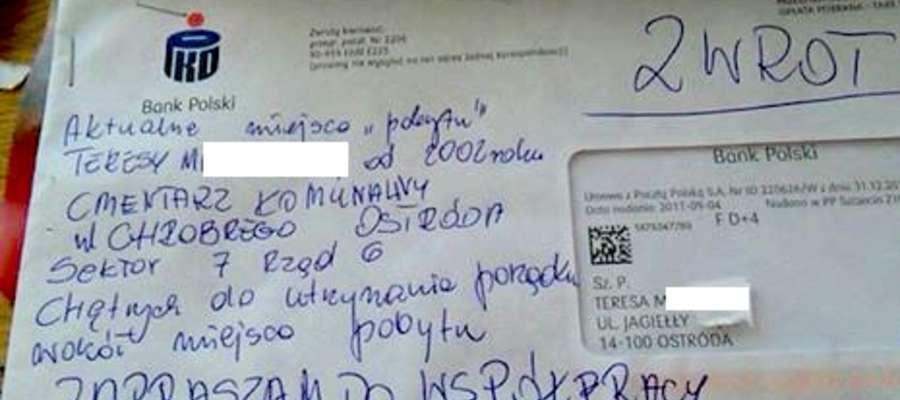 List do zmarłej mamy odebrała pani Bożena z Ostródy