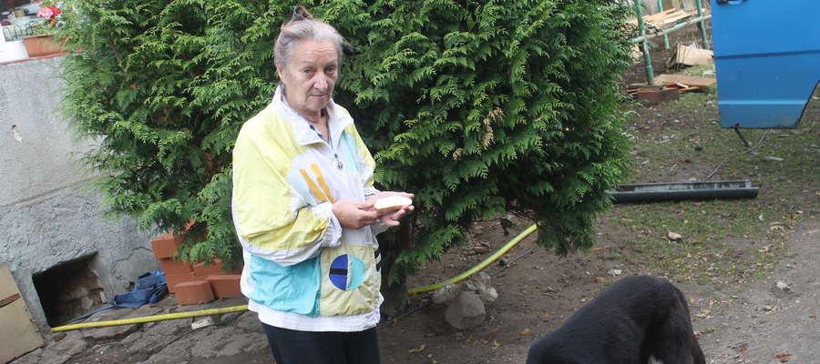 Wiesława Bielińska ma na sobie kurtkę, w której była wtedy w lesie. Towarzyszy jej drugi pies, który miał więcej szczęścia niż zastrzelony Amor