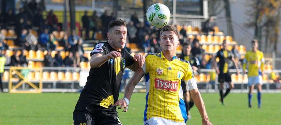 Jakub Bojas (z prawej) strzelił pierwszego gola dla Olimpii w niedzielnym meczu
