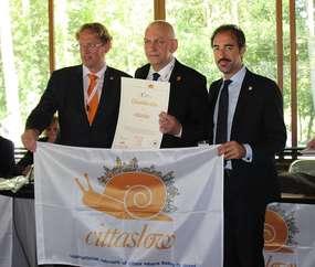 Odebranie certyfikatu Cittaslow przez Burmistrza Działdowa Grzegorza Mrowińskiego