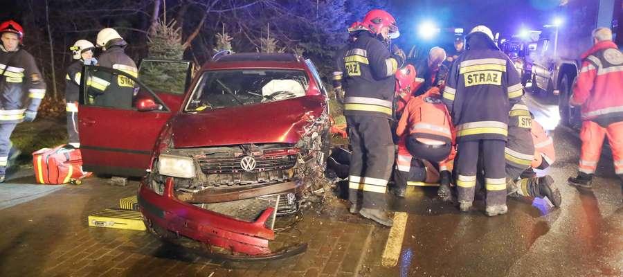 Wypadek na ulicy Jagiellońskiej w Olsztynie (22 grudnia 2017 r.)
