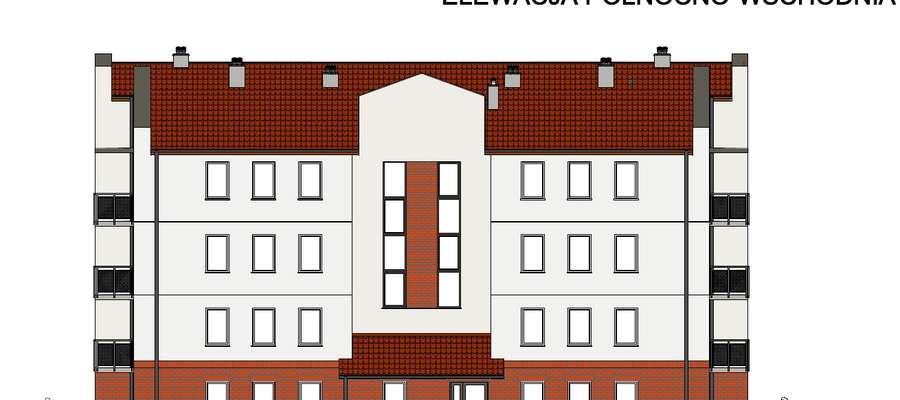 Projekt drugiego budynku przy ul. Kolejowej. Elewacja północno-wschodnia