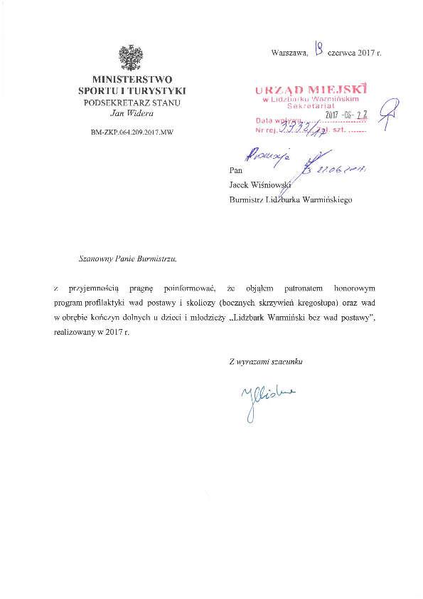List wiceministra Jana Widery