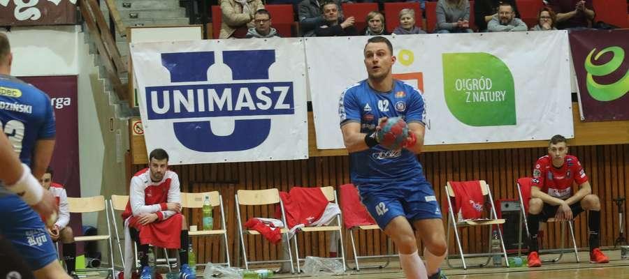 Paweł Deptuła, jeden z najlepszych zawodników meczu Warmia Energa - Kwidzyn