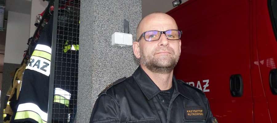 Kpt. Krzysztof Rutkowski, oficer prasowy komendy powiatowej PSP Iława