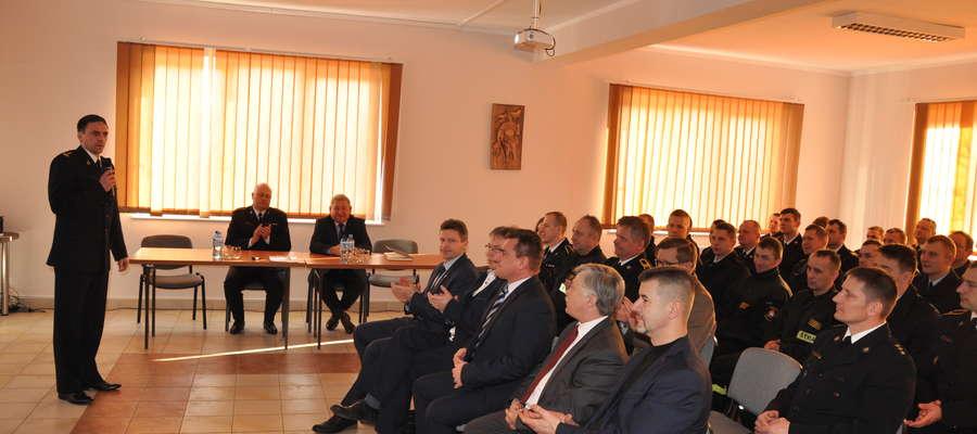 fot. — Lidzbarscy strażacy podsumowali uroczyście miniony rok. Spotkani odbyło się 22 lutego w siedzibie lidzbarskiej Komendy Powiatowej Państwowej Straży Pożarnej