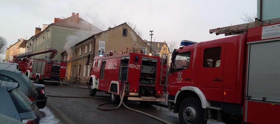 Pożar przy ul. Kopernika w Lidzbarku Warmińskim