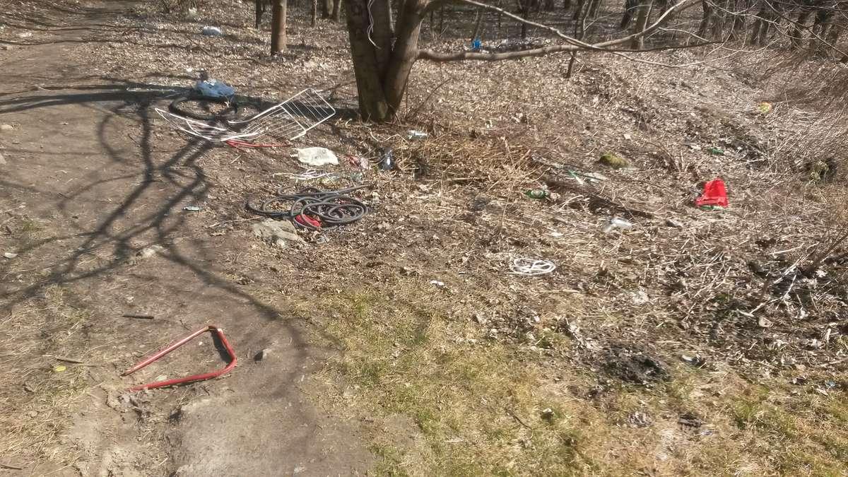 W lasku na Osiedlu Mazurskim kłębią się najróżniejsze śmieci. Wśród nich - suszarka na ubrania