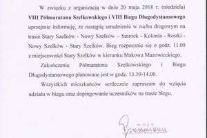 Informacja wójta gminy Szelków
