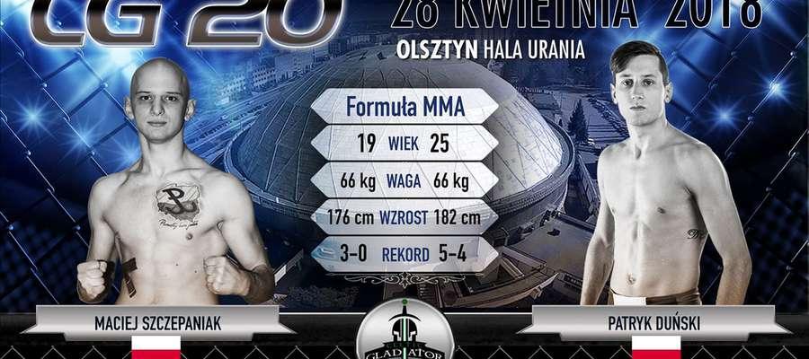 Grafika zapowiadająca walkę Patryka Duńskiego z Maciejem Szczepaniakiem