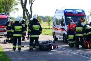 Motorowerzysta zderzyłsię z autem. Wypadek koło Milejewa