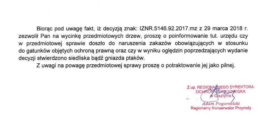 Końcowy fragment pisma RDOŚ do WMWKZ