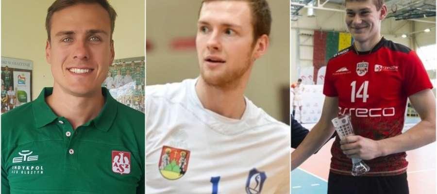 Nowi siatkarze Indykpolu AZS Olsztyn (od lewej): Sebastian Warda, Jakub Urbanowicz i Mateusz Poręba