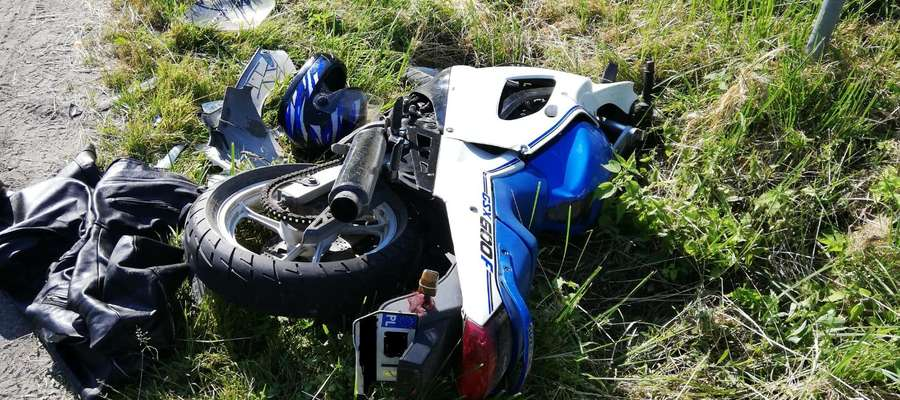 Wypadek z udziałem motocyklisty w okolicy wsi Boćwinka