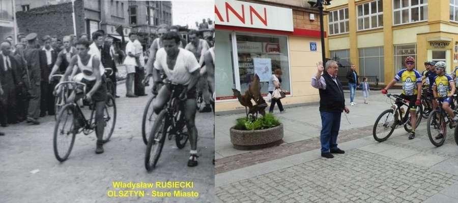 Władysław Rusiecki wypuszcza ze startu uczestników pierwszego wyścigu kolarskiego w Olsztynie. 71 lat później to samo w tym samym miejscu zrobił jego syn Andrzej. Użył nawet gwizdka ojca...
