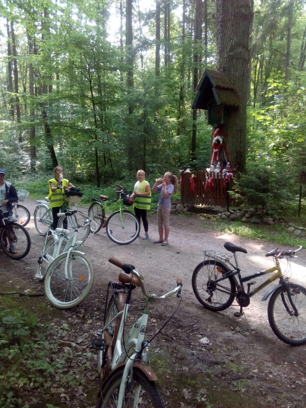 Uczniowie z Zajączkowa przy kapliczce w tylickim lesie