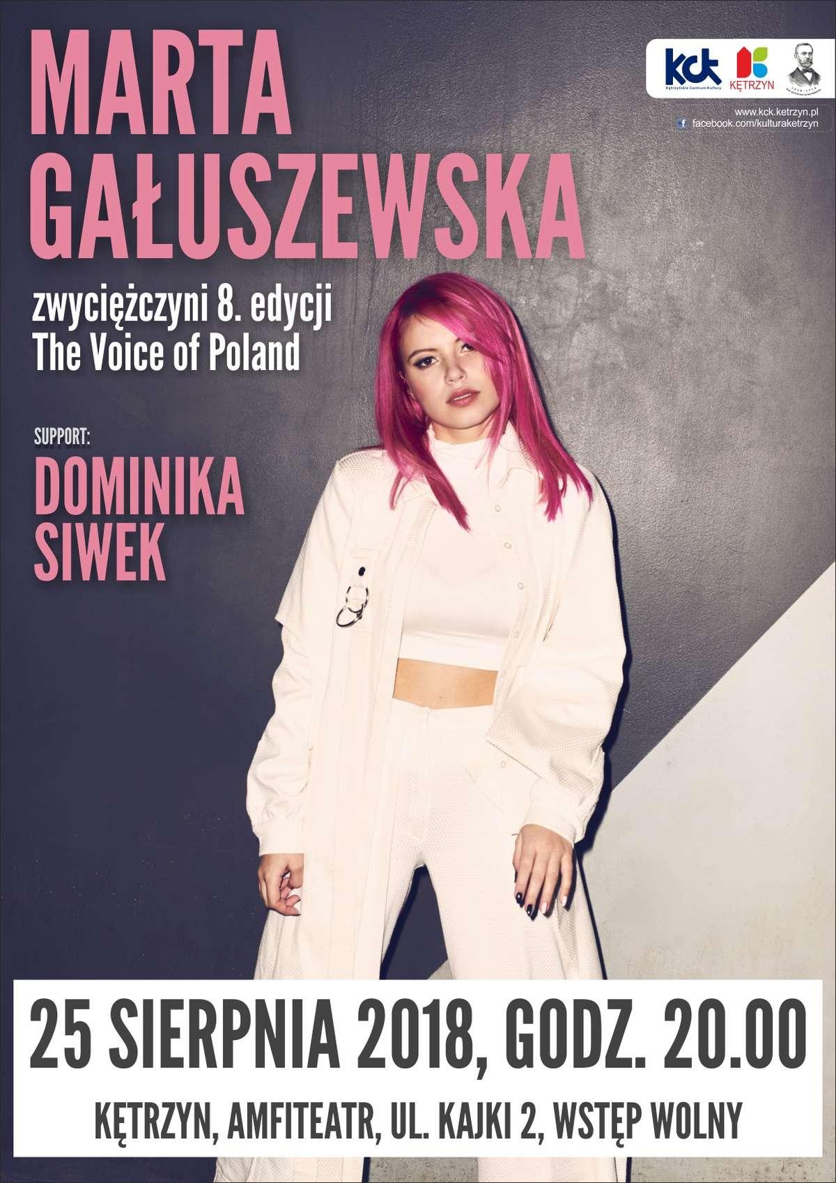 Marta Gałuszewska, zwyciężczyni 8. edycji The Voice of Poland, wystąpi w kętrzyńskim Amfiteatrze. - full image