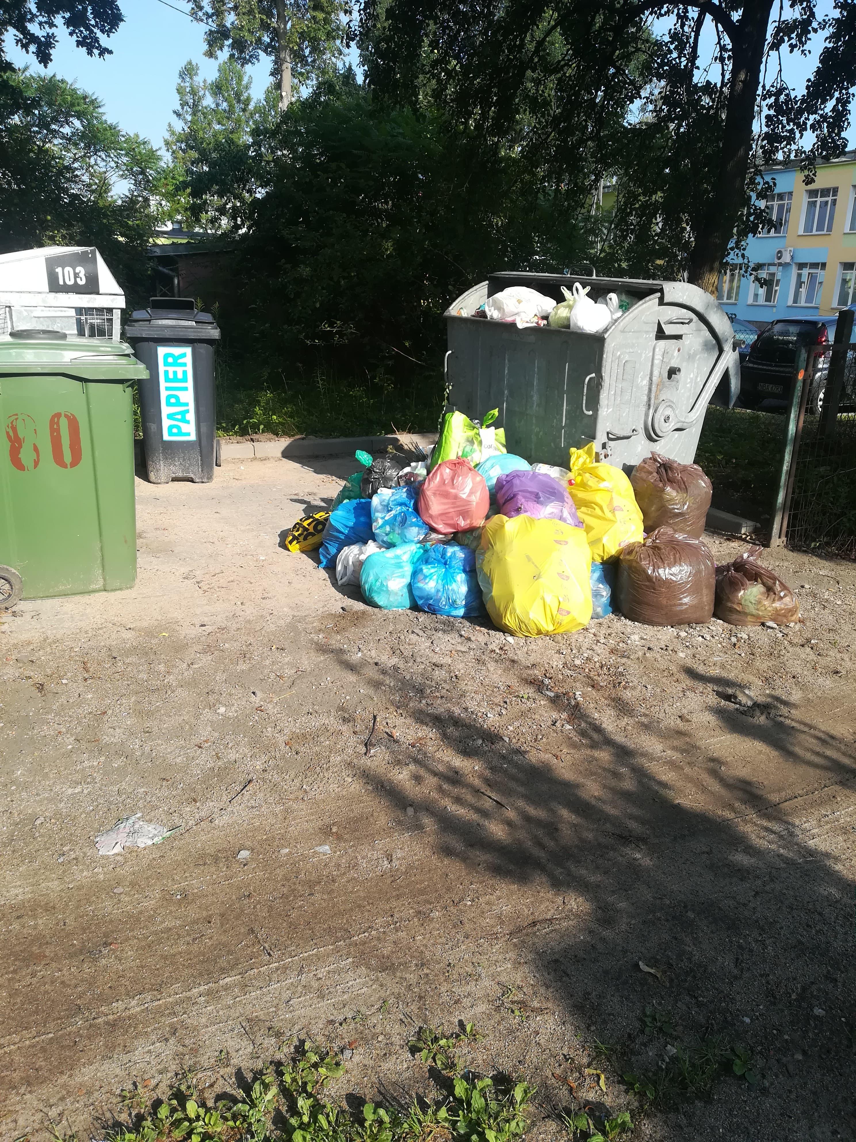 Śmieci przy ul. Wajdy 10a w Bartoszycach