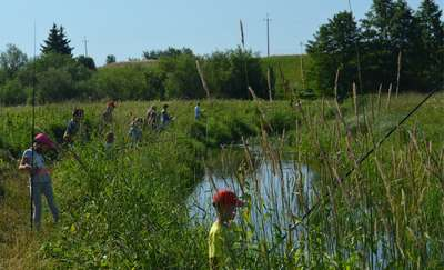 Zawody wędkarskie na rzece Lega w Olecku