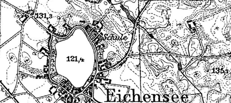 Mazurski Wąchock, czyli wieś Dąbrowskie, w powiecie ełckim (na starej mapie po 1938 roku)