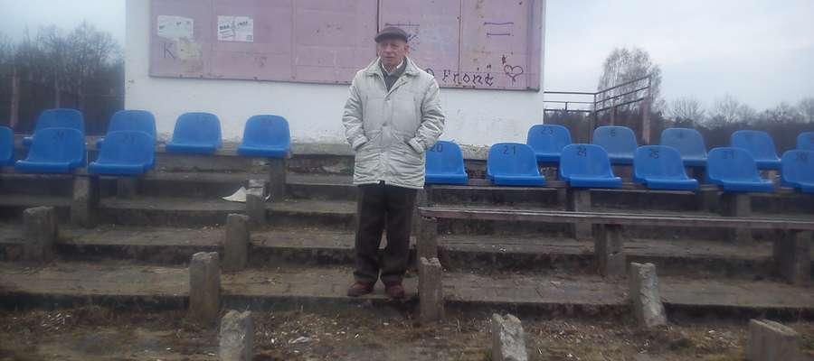 Andrzej Poduszko na stadionie Warmii
