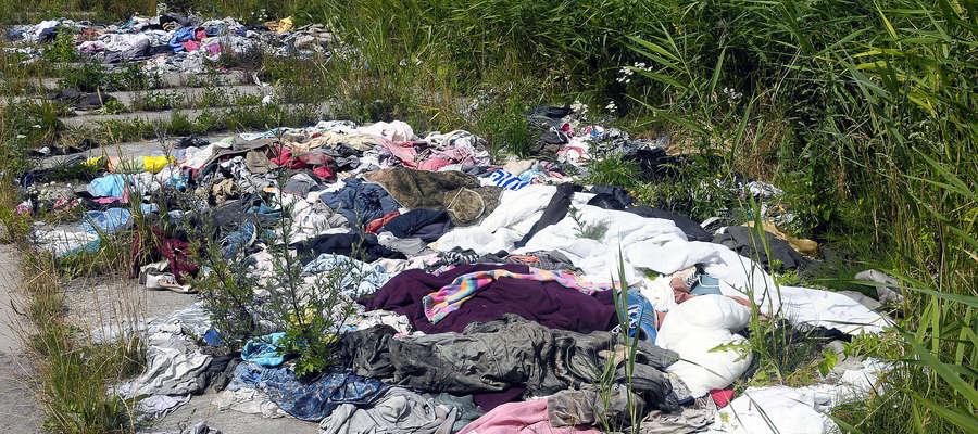 Znowu naśmiecili nad jeziorem Druzno. Tym razem ktoś pozbył się ubrań [zdjęcia]