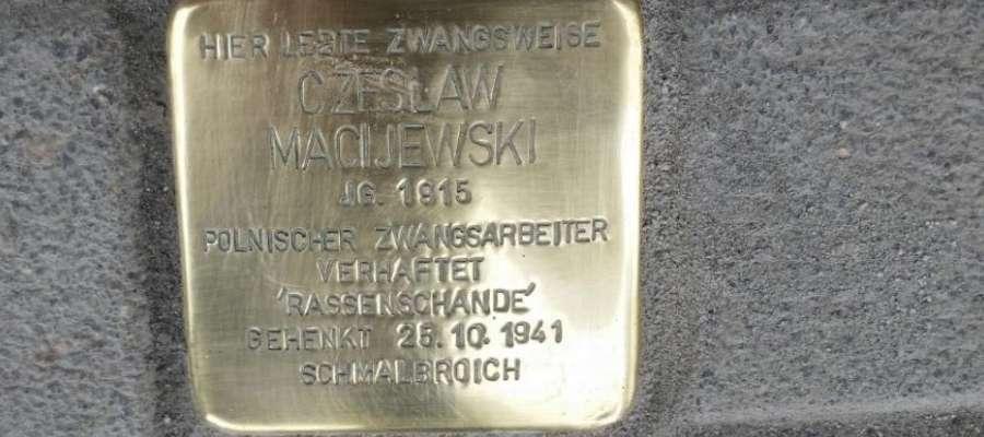 Kamień pamięci Czesława Macijewskiego w Kempen
