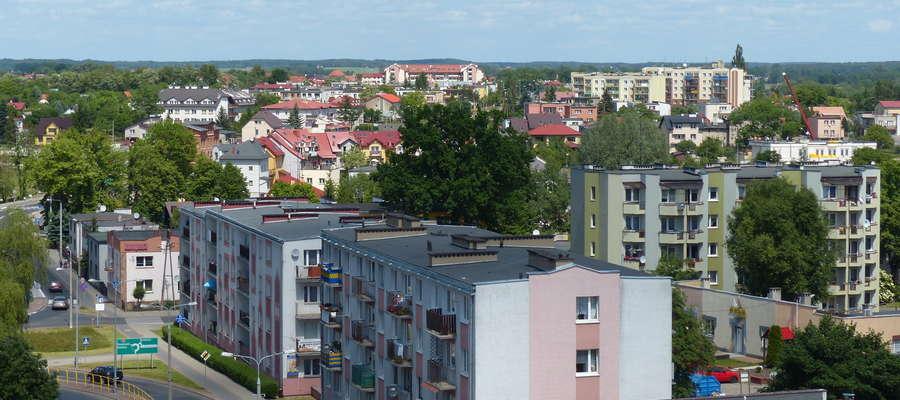 Iława, widok z wieży ratuszowej w kierunku północnym