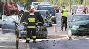 Zderzenie dwóch aut w Olsztynie. Duże utrudnienia w ruchu! [ZDJĘCIA]