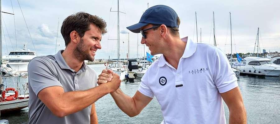 Szymon Jabłkowski (z lewej), sternik OKŻ Olsztyn i Karol Górski z Jeziorak Yacht Club Iława — dwaj najlepsi sternicy Polskiej Ekstraklasy Żeglarskiej 2018