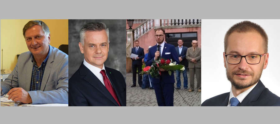 Do walki o fotel burmistrza Iławy stanęło w I turze 4 kandydatów, od lewej: Adam Żyliński, Piotr Żuchowski, Maciej Mikołajczyk i Dawid Kopaczewski