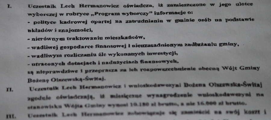 Wyciąg z ugody sądowej z 10 października, sygn. akt. I Ns 273/18