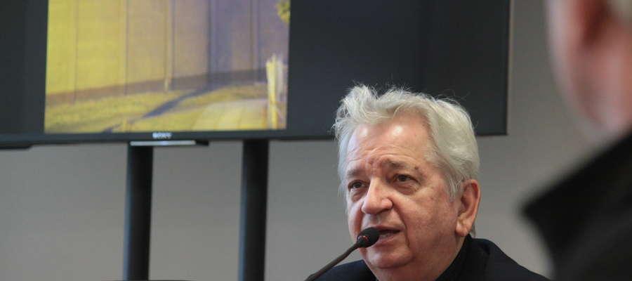 Juliusz Machulski podczas spotkania w starostwie powiatowym w Bartoszycach