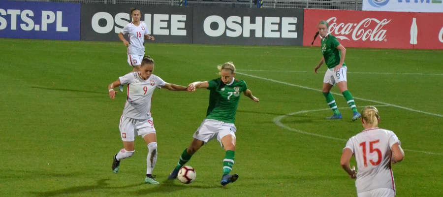 Ewa Pajor (nr 9) ustaliła wynik na 4:0 w towarzyskim mecz Polski z Irlandią, który rozegrany został w Ostródzie