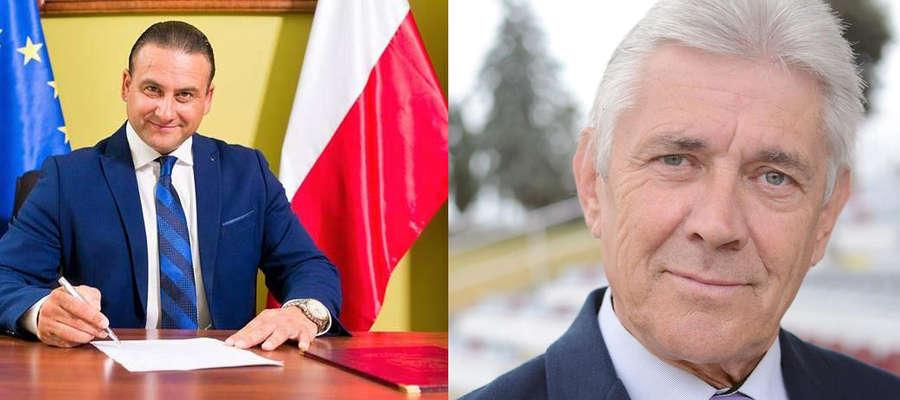 Dwa kandydaci na burmistrza Kisielic: Rafał Ryszczuk (aktualnie pełni tę funkcję) i Janusz Więcek (aktualny przewodniczący rady miejskiej w Kisielicach)