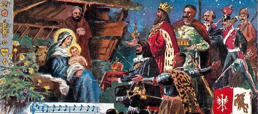 Stara kartka bożonarodzeniowa z motywami patriotycznymi