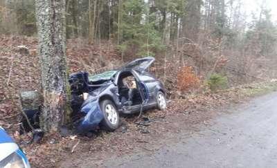 Na prostej drodze uderzył w drzewo. Dwaj mężczyźni z poważnymi obrażeniami trafili do szpitala
