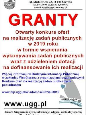 Nowy konkurs ofert na realizację zadań publicznych w roku 2019 w Gminie Giżycko