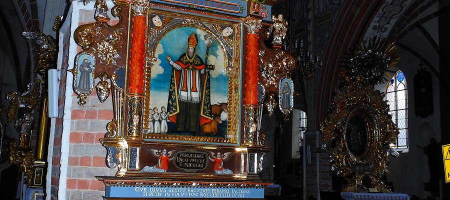 Wizerunek św. Mikołaja z ołtarza w Nowym Mieście