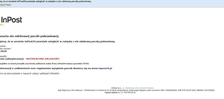 Screen fałszywego maila