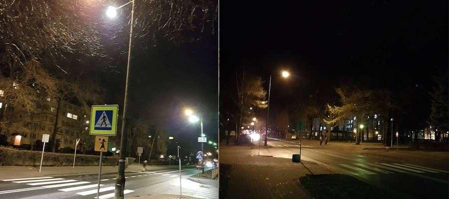 Tak wygląda przejście dla pieszych oświetlone i nieoświetlone. Różnicę widać gołym okiem