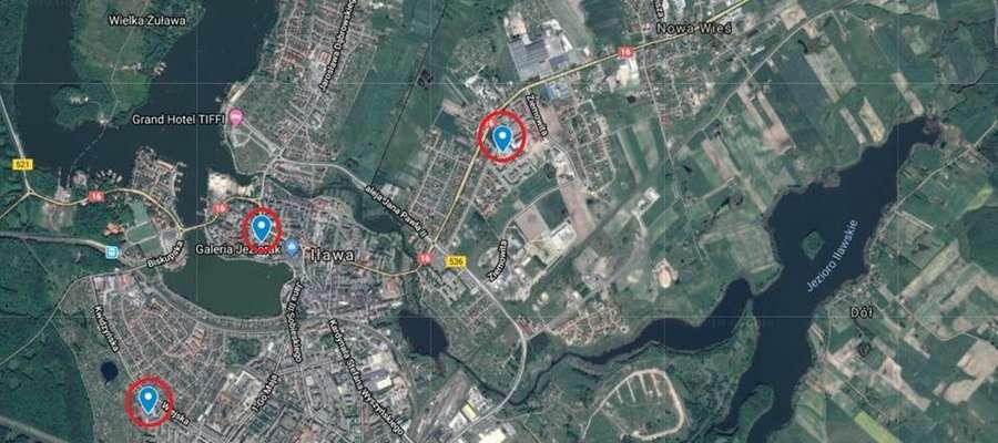 Mapa pokazuje lokalizacje urządzeń pomiarowych
