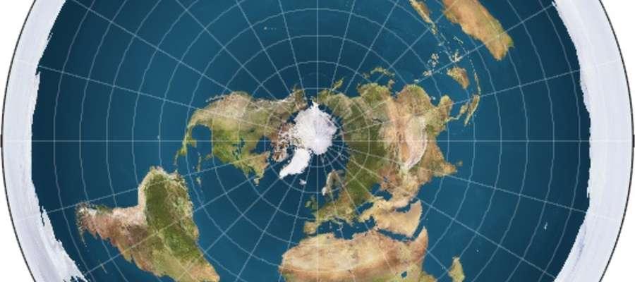 Model płaskiej Ziemi (okrągły mur lodowy zabezpiecza przed spłynięciem wody z jej powierzchni)